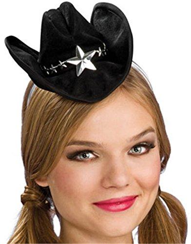 Noir Mini Cowboy Western chapeau pour fille avec Silver Star