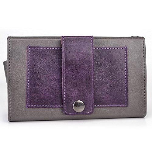 Kroo Lien série universel femmes portefeuille Wristlet sac à bandoulière Compatible avec de nombreux 4à 12,7cm Étui pour Huawei/Lenovo/LG/Motorola/Microsoft Téléphone portable Multicolore - Grey and Multicolore - Gauntlet Gray and Dark Plum Purple