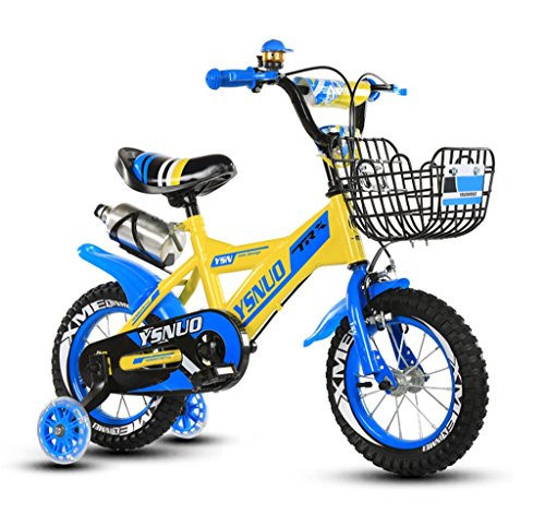 Kinderfahrräder Kinderfahrrad 12|14|16|18 Zoll Outdoor Kind Baby Kind Mountainbike Jungen Mädchen Geschenk für 2-10 Jahre alt mit Flash-Trainingsrad | Trinkflasche | Eisenkorb Safe Load 50KG ( Farbe : Blau , größe : 14 inches ) (Fahrrad Jahre Altes 9)
