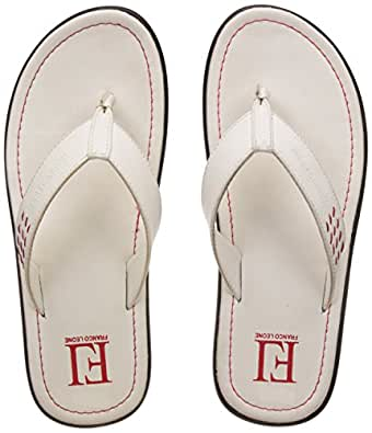 Franco Leone Men's White Hawaii Thong Sandals - 6 UK/India (40 EU)