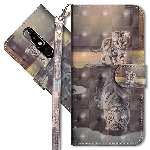 MRSTER Nokia 5.1 Plus Handytasche, Leder Schutzhülle Brieftasche Hülle Flip Case 3D Muster Cover mit Kartenfach Magnet Tasche Handyhüllen für Nokia 5.1 Plus 2018. YX 3D - Cat Tiger