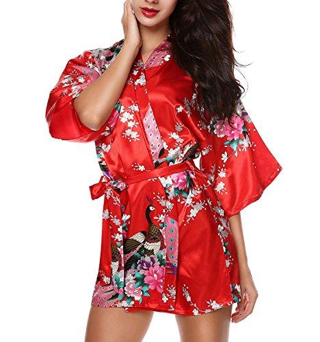 ACVIP Cardigan Robe de Chambre, Peignoir Court Kimono pour Femme, Motif Fleur Paon Robe Chemise de Nuit,10 Couleurs Rouge