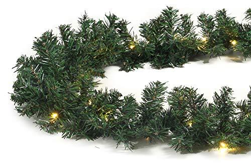 Tannengirlande grün 8,1 m mit 120 LED beleuchtet Weihnachtsbeleuchtung außen