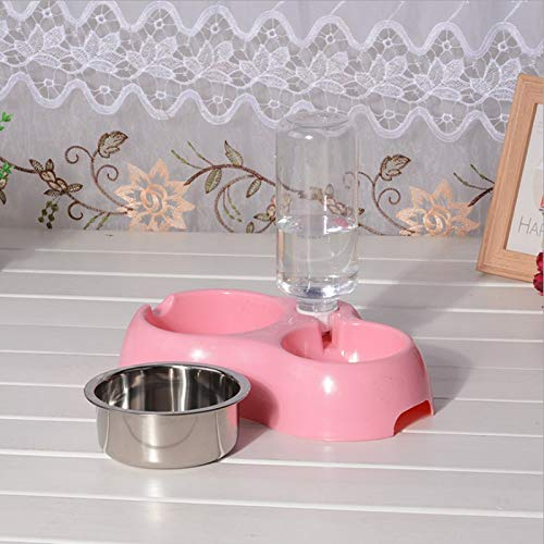 Smklcm Pet Supplies Doppel Schüsseln Edelstahl Hundenapf automatische Nachfüllung Dual-Bowl-Katze und Hund Schüssel mit Flasche Pet Trinkbrunnen (Color : Pink)
