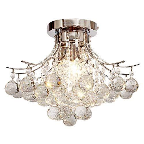 Plafoniera cristallo,create for life 3 luce lampadario di cristallo moderno, mini style montaggio a filo della luce di soffitto cristallo, per lo studio,ufficio, sala da pranzo, camera da letto, soggiorno, finitura cromata