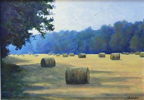 Heuballen-35cmx25cm, Heuhaufen, Malerei, Sommer, Ernte, warmes Sonnenlicht, Schatten.