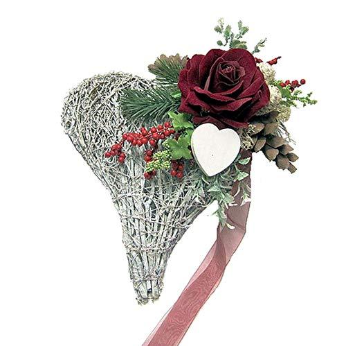 Grabgesteck – Grabschmuck – Grabaufleger Herz mit Rose und Schleife 862