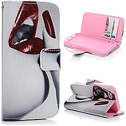 iPhone 5/iPhone 5S Etui Cuir-Etui à Rabat Portefeuille de Carte Slots Support Dessin Original Case Cover Housse [avec Lanière]-ZSTVIVA Lèvre Rouge et Ongle Sexuel