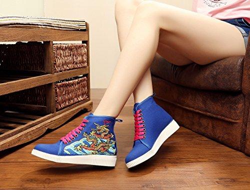 Insun Damen Turnschuh Freizeit Flats Bestickte Schuhe Espadrilles Blau