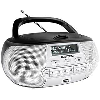 Zenith DAB Digital FM Radio CD Boombox: AZATOM Zenith Z2 – CD Player – DAB/DAB+ 'Future Ready' – FM Radio – USB MP3 Player – Premium Stereo Sound – Mains or Battery Powered – Portable – (Black/Silver)