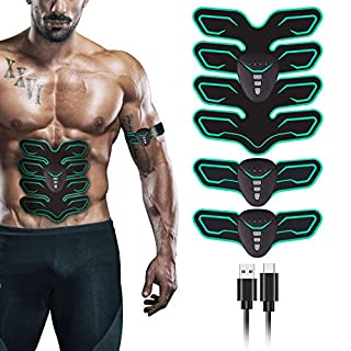 FYLINA Unisex's EMS Abdominal Stimulator, Abs Trainer Muscle Toning Belts Home Workout Fitness Device with USB Charging for Men & Women, Green, Model