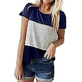 ITISME FRAUEN BLUSE Frauen Kurzarm Dreifach Farbe Block Streifen T-Shirt Casual Bluse