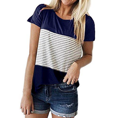 CAOQAO Damen Casual Patchwork Farbblock Kurzarm Triple Color Block Streifen T-Shirt LäSsige Bluse Atmungsaktives Laufshirt(XL,Blau)