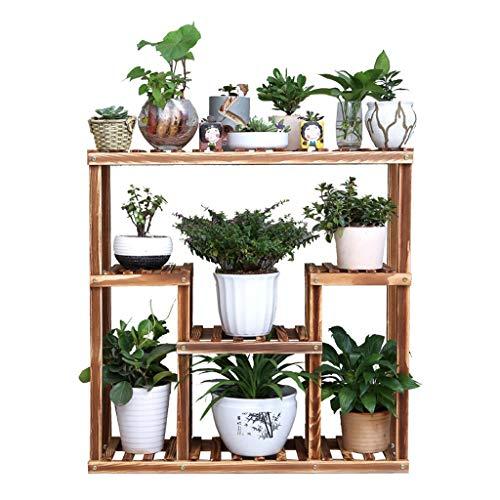 Wadse Massivholz-Blumen-Stand-modernes minimalistisches Innenwohnzimmer Hölzernes mehrschichtiges grüne Blumen-Stand-stehendes Topf-Gestell -by Virtper (Farbe : Schokoladen-Farben, größe : 80 * 80cm)