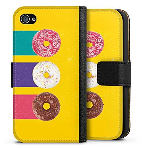 Apple iPhone X Silikon Hülle Case Schutzhülle Donuts Süßigkeiten Candy Sideflip Tasche schwarz