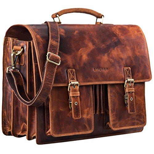 STILORD \'Anton\' Aktentasche Leder XL Vintage Lehrertasche mit Laptopfach 15,6 Zoll große Ledertasche zum Umhängen Trolley aufsteckbar, Farbe:Kara - Cognac