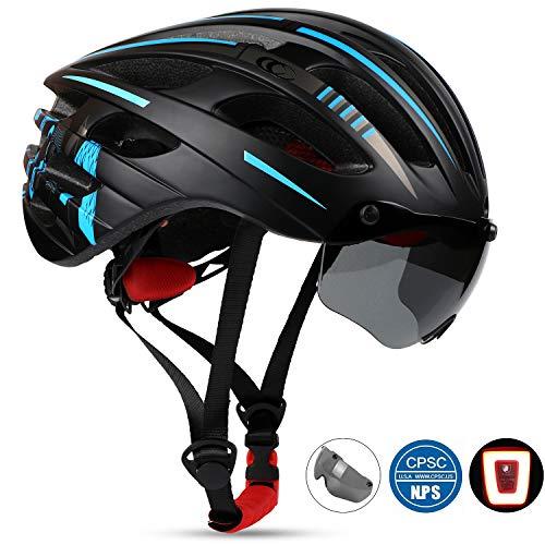 KINGLEAD Fahrradhelm mit Sicherheitslicht und Schutzvisier, CE-Zertifiziert, Unisex, Schutzhelm für Radfahren, Outdoor, Sport, Sicherheit, superleicht, verstellbar,...