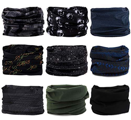 ECOMBOS Multifunktionstuch vielseitig einsetzbar Motorradmaske Sporttuch Gesichtsmaske Bandana Stirnband Schweißband Halstuch Motorrad Wandern Ski Outdoor (Dunkel)