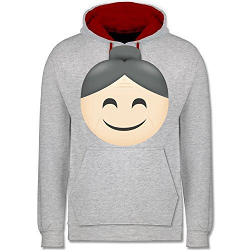 Comic Shirts - Oma Emoji - Kontrast Hoodie Grau Meliert/Rot