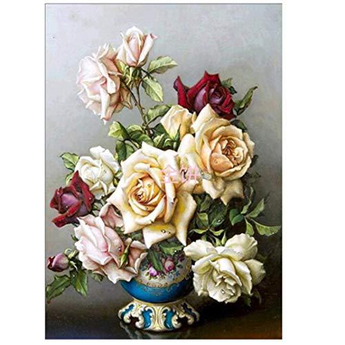 JOOFFF DIY 5D Diamant Malerei Rose Blume Obst Muster Kreuzstich Art Craft Home Wanddekoration Für Wohnkultur Geschenk, Rose Blume -