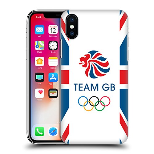 Official Team GB British Olympic Association EST Gold on Black Logo Hard Back Case for Apple iPhone X Flag