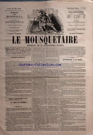 MOUSQUETAIRE (LE) [No 147] du 26/05/1856 - CAUSERIE MUSICALE PAR GATAYES - NOUVELLES A LA MAIN PAR LEQUESNE - UN JOUR DE PLUIE PAR A. FIEVRE - LA CHATELAINE DES CLAIRES PAR KUNTZ DE ROUVAIRE - LA JARRETIERE ROSE PAR CHARLES DESLYS - UN MARIAGE DE HAINE PAR ROBERT - LE TIROIR AUX SOUVENIRS PAR DE MALHERBE