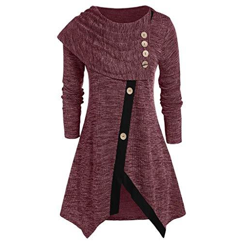 Sllowwa Damen Elegant UnregelmäßIg Tasten Tops Pulli Pullover Volltonfarbe Wasserfallausschnitt Lange ÄRmel Tops Patchwork Spitzen T Shirt Mini Kleiden(rot,XX-Large)