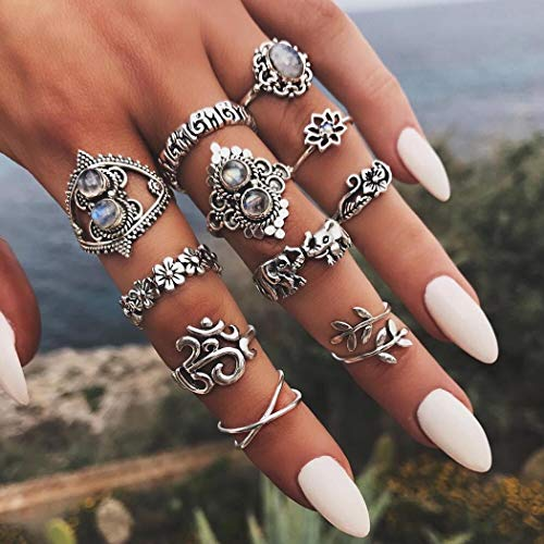 Simsly Boho - Juego anillos nudillos mujeres niñas