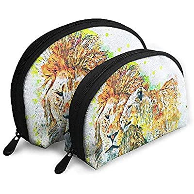 Lion Lioness Acuarela Emotion Bolsas portátiles Bolsa de Maquillaje Bolsa de Aseo Multifunción Bolsas de Viaje portátiles Pequeño Bolso de Maquillaje