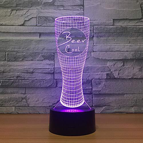 3D Nachtlicht Led Nachtlicht 7 Farbwechsel Lampe Acryl Hologramm Bier Kühl Illusion Schreibtischlampe Geschenk Dekoration Beleuchtung für Kinder und Freunde,Remote and touch