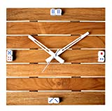 #4: Cartoonpur Teak Wood 10.5 inches Wooden Wall Clock Retro Vintange 3D Handmade Decorative Living Room Analog Wall Clock- Square- Dice Numbers
