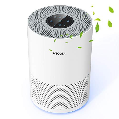 Luftreiniger, WEOOLA Air Purifier mit Nachtlicht, Geruchsbeseitiger mit HEPA-Filter, 2-Stufen-Filterung für 99,97{00e788c137b82ce1f767d759248a13592c76dc3053ecc0cae1cf0d8a6fd2c23d} Filterleistung, Ideal für Allergiker und Raucher (Weiß)