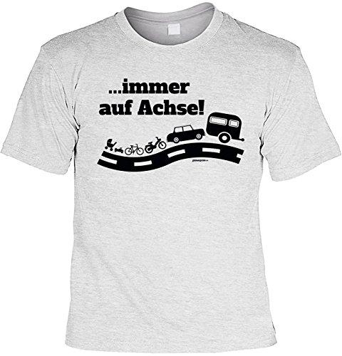 Camping T-Shirt …immer auf Achse! Camping Artikel Campingfan Wohnmobil Camper Caravan Grau
