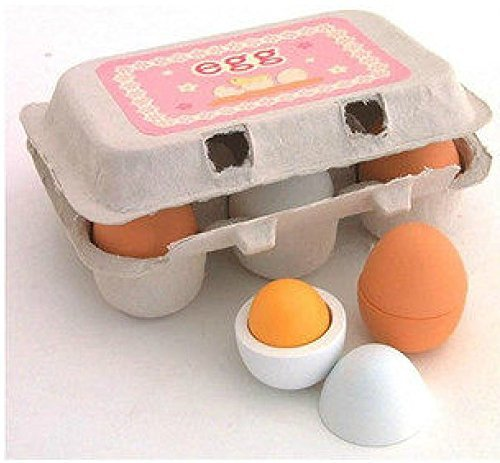 DecentGadget� 6 Wooden Play Eggs in Carton Pretend Play Pre-school Educational Toy Kitchen Food Toy