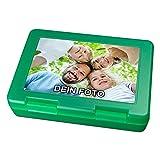 PhotoFancy® - Brotdose mit Foto bedrucken - Brotbox zum personalisieren - Lunchbox mit eigenem Motiv selbst gestalten (Grün)