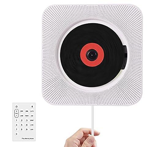 Wrcibo Lecteur CD mural pour maison Lecteur CD Portable avec télécommande construit Bluetooth MP3 haut-parleurs USB HiFi - Blanc