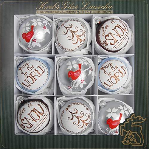 Lauscha - Set di Palline per Albero di Natale, in Vetro Bianco Opaco e colorato, 8 cm