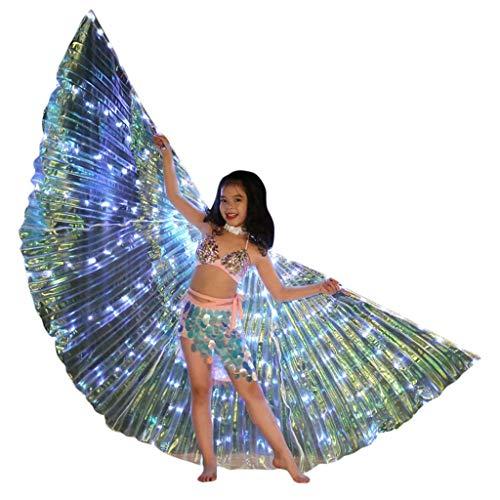 Machen Wie Sie Kostüm Engel Flügel - Chejarity Isis Flügel Bauchtanz LED Flügel Wings Kinder Bühnen Performance Kleidung Schmetterling Flügel Feenkostüm Tanz Requisiten Mädchen Halloween Karneval Cosplay Party Kostüm (C, Mehrfarbig)