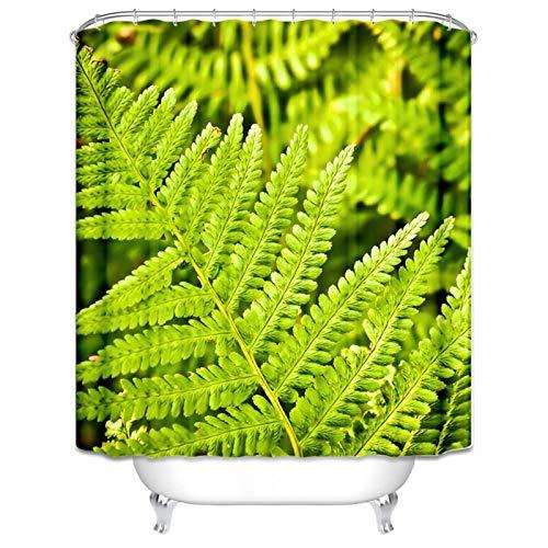 Gnzoe Duschvorhang 180x200CM Bad Vorhang Farn Natur Grün Pflanze Muster Waschbar Vorhang Bunt für Badezimmer -