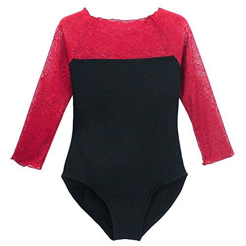 BOZEVON Damen Lange Ärmel Body Einteiler Bodysuit Jumpsuits Gymnastikanzug Top Dancewear (Rot) -