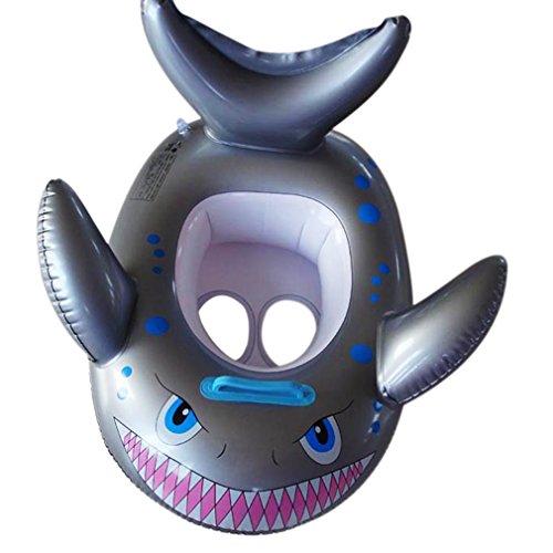 V-SOL Flotador para Bebés con Asiento de Juguete Piscina Niños Modelo Tiburón Gris