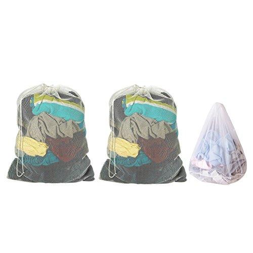MUZOCT 3 Wäschesack Mesh Waschen Taschen 2 Extra große & 1 große mit Kordelzug Schließung (Textur Kordelzug)