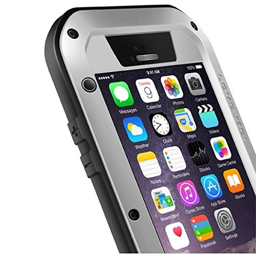 iPhone 6/6S Custodia in alluminio resistente all acqua antiurto, con vetro Gorilla Glass resistente Cover rigida protettiva per Apple Iphone 6Iphone 6s 4.7pollici Custodia protettiva argento