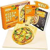 PIZZA TOOLS Pietra per Pizza - Pizza Croccante Come dall'Italia - con Paletta per Pizza - Ideale per Grill e Forno - Rettangolare 38 x 30 x 1,5 cm