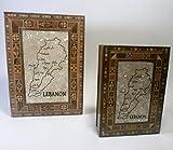 Set von 2Mosaik dekorativer Holz Aufbewahrungsbox–Libanon Karte & Major Städte.