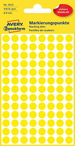 Avery 3013 Círculo Amarillo 416pieza(s) - Etiqueta autoadhesiva (Amarillo, Círculo, Papel, 8 mm, 416 pieza(s), 104 pieza(s))