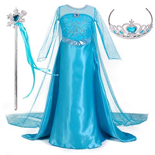 Magogo Prinzessin Kleid ELSA Kostüm Mädchen Kleidung Karneval Outfit Party Kostümrock mit Krone und Zauberstab (M 111-120cm, Blau) (Elsa Krönung Kleid Für Kinder)