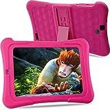 Alldaymall Tablet Infantil de 7 pulgadas 16GB IPS FHD1920x1200 (64-Bit Quad Core, Android 5.1, Wi-Fi, Bluetooth) Rosa con funda de silicona 2017 Nuevo