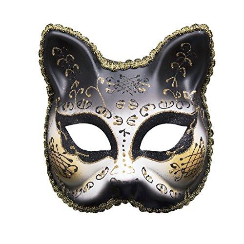Roman griechischen venezianischen Masken Masquerade Maske Halloween Kostüm Ball Party Kleid Dekoration Supplies Kätzchen Maske mit Persönlichkeit Karneval Make Up Schwarz