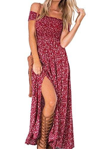 Vestido De Hombro Verano para Mujeres Playa Fiesta...